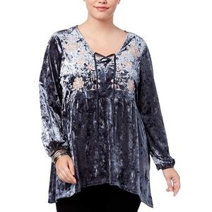 Style & Co Embroidered Crushed Velvet Tunic 1X